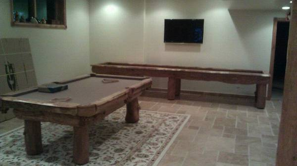 Olhausen Pool Table Pockets ... table set let us create a custom lodgepole shuffleboard table for you