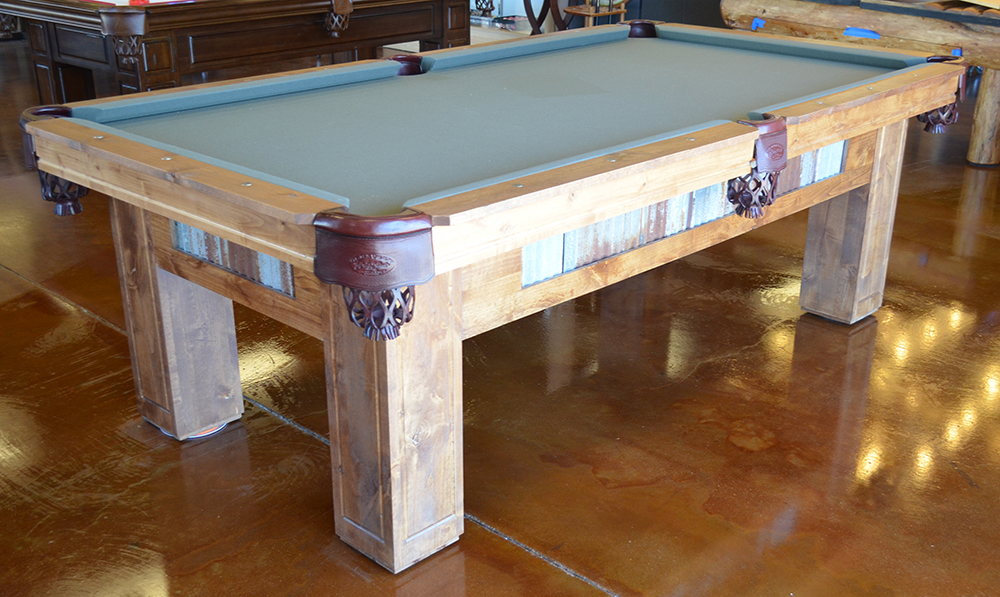 Rustic Country Reclaimed Wood Pool Table. Zoom