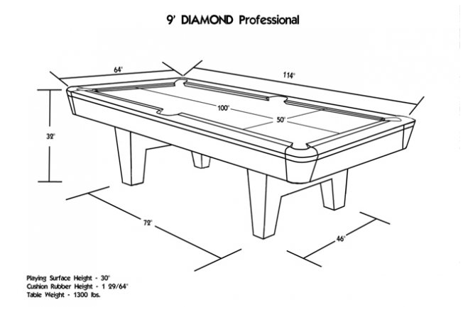 Diamond billiards professional pool table - Dimension table de billard standard ...