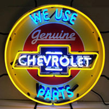 Chevrolet Neon Sign With Silkscreen Backing