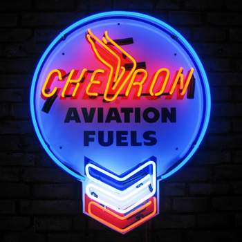 Chevron Aviation Fuels Neon Sign