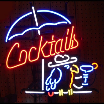 Cocktails and Parrot Neon Sign
