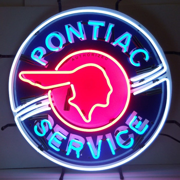Pontiac Service 36 Inch Neon Sign In Metal Can