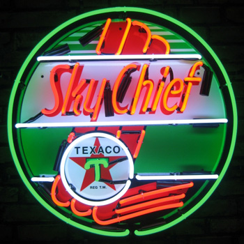 Texaco Sky Chief 36 Inch Neon Sign In Metal Can