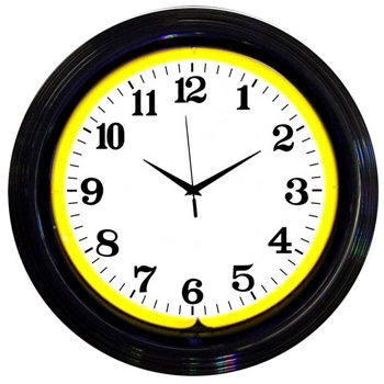 Black Rim With Yellow Neon Standard Neon Clock