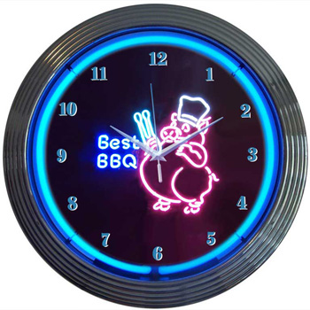 BBQ Pig Neon Clock 100% made in USA, manufactured by ...