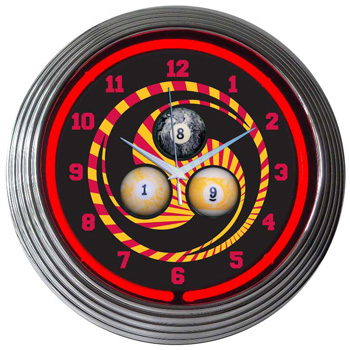 Billiard 1,8,9 Neon Clock