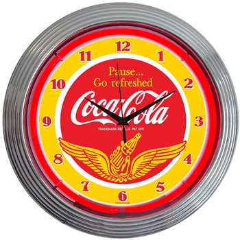 Coca Cola Wings Neon Clock