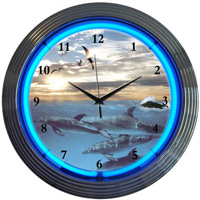 Dolphins At Sea Neon Clock