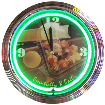 Essentially 8 Ball Billiards Neon Clock