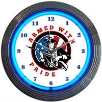 Armed With Pride Neon Clock