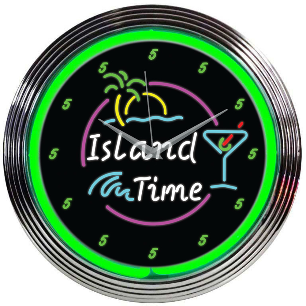 Island Time Neon Clock 100% made in USA, manufactured by ...