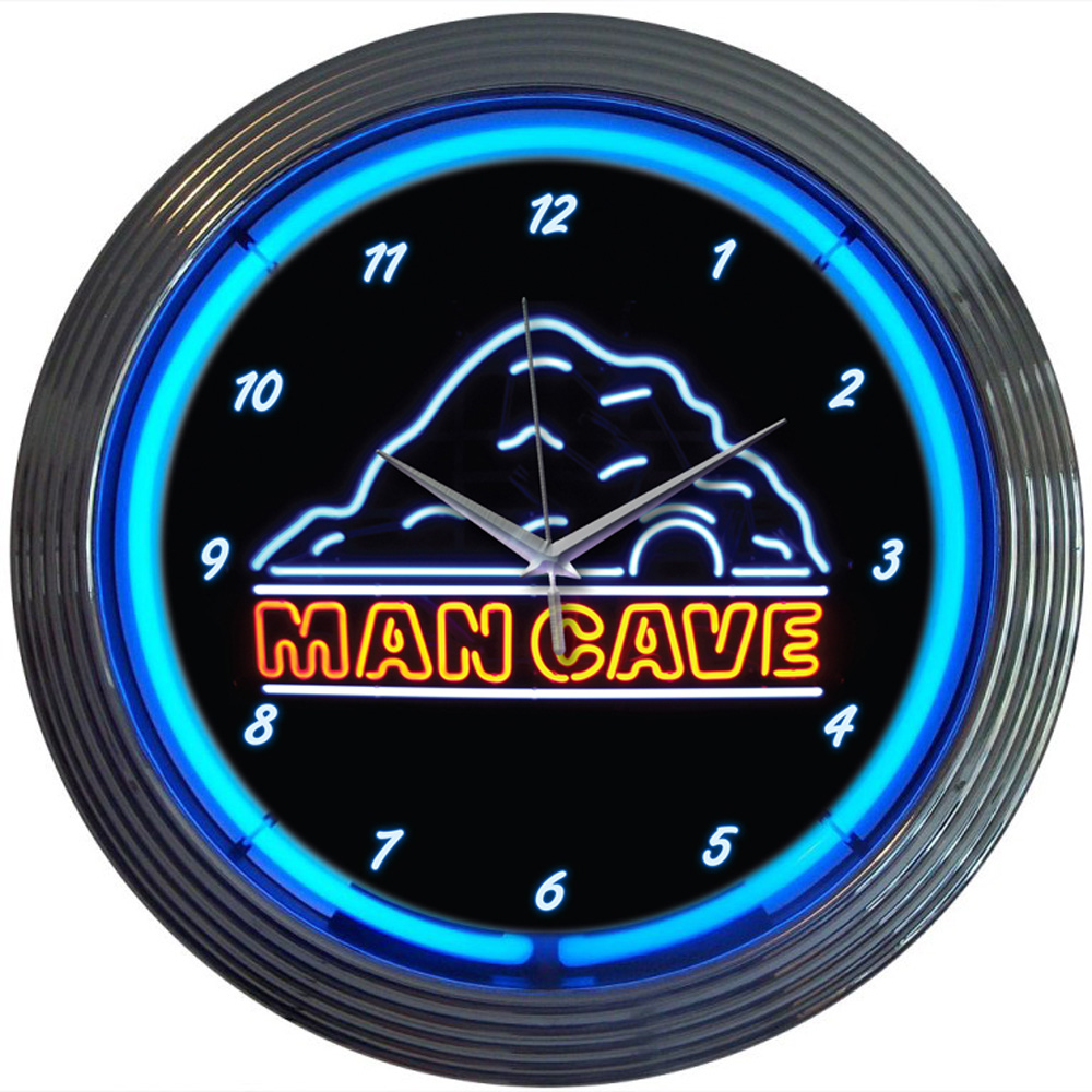 Man Cave Neon Clock : Man cave neon clock made in usa manufactured by