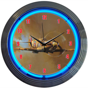 Spit Fire Wwii Airplane Neon Clock 100 Made In Usa
