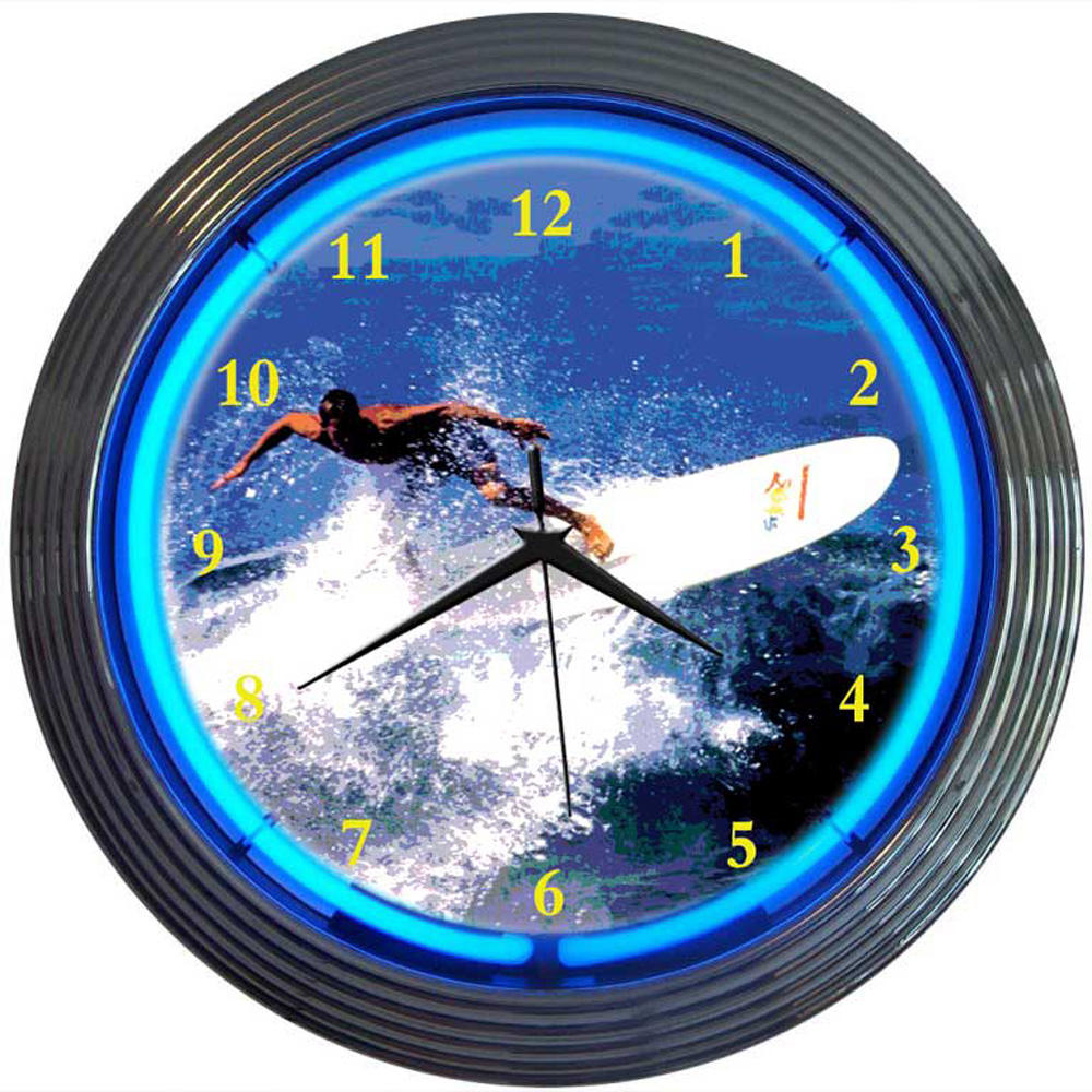 Surfing Neon Clock 100% made in USA, manufactured by ...