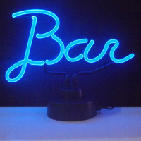 bar sign in neon