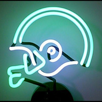 GREEN AND WHITE FOOTBALL HELMET NEON SCULPTURE