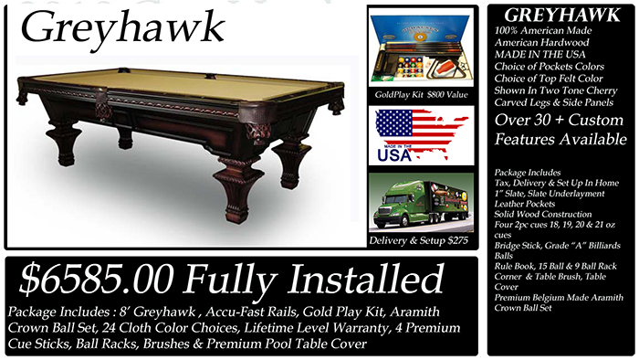 Diamondback Billiards Pool Table Packages - Pool table side panels