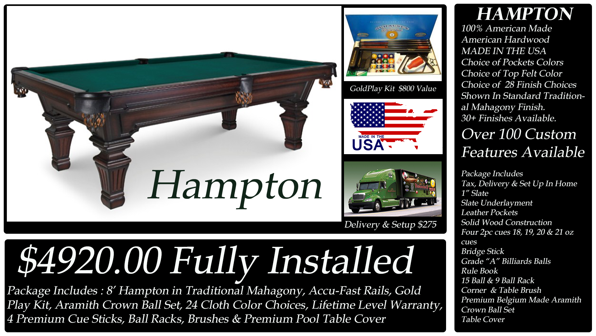Diamondback Billiards Pool Table Packages - Pool table delivery and setup