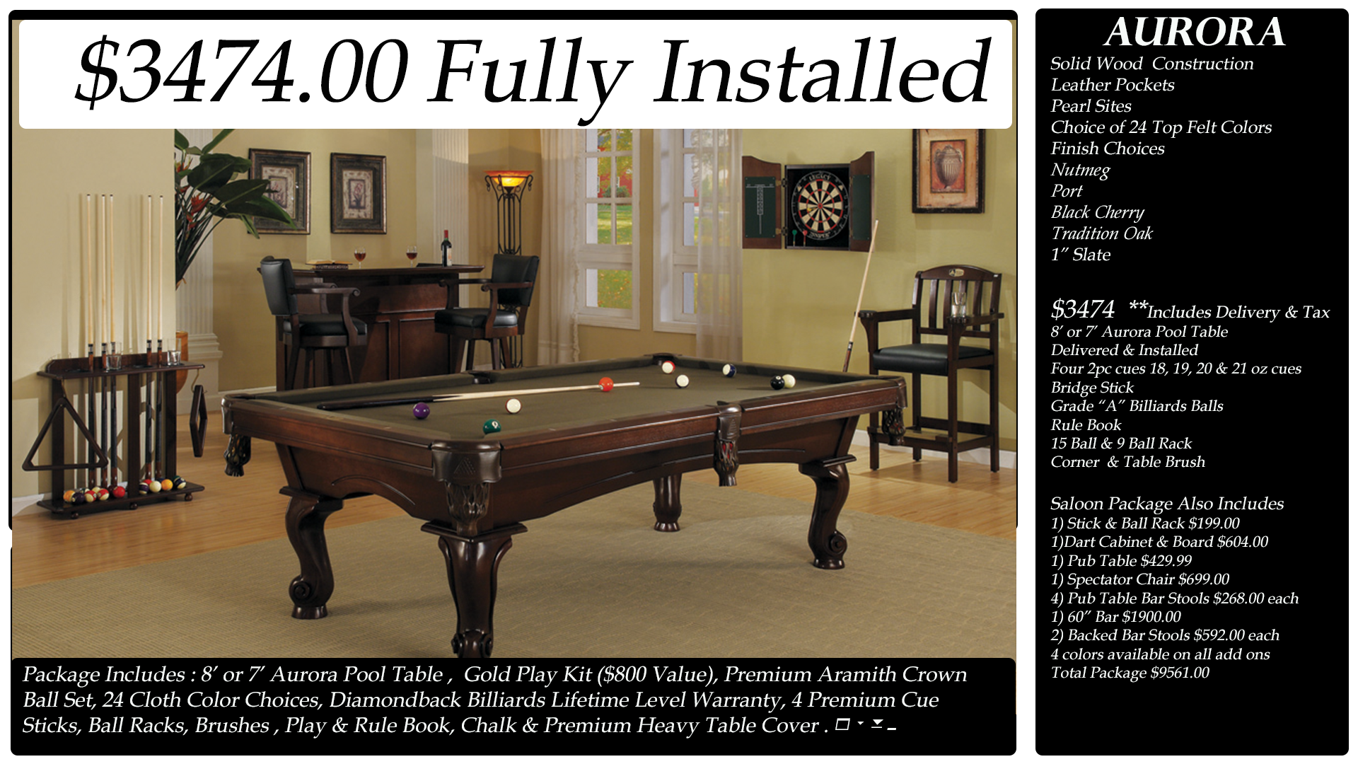 Diamondback Billiards Pool Table Packages - Black top pool table